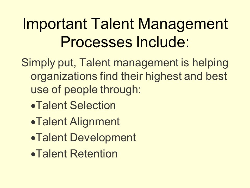 Important Talent Management Processes Include: