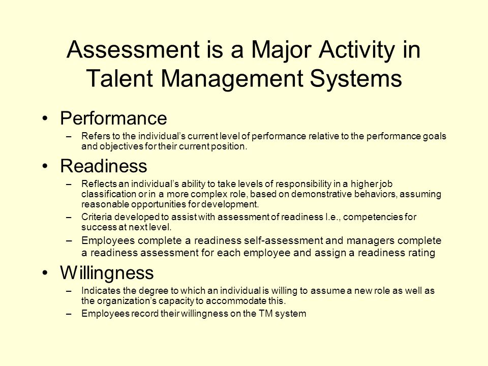 Assessment is a Major Activity in Talent Management Systems