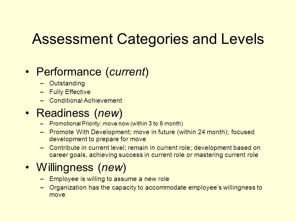 Assessment Categories and Levels