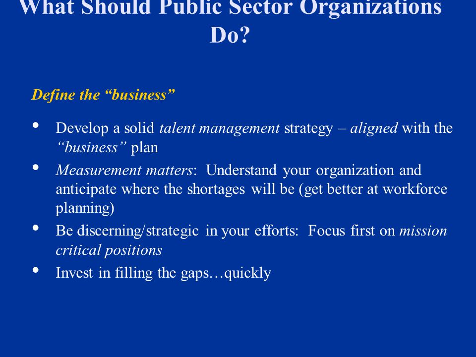 What Should Public Sector Organizations Do
