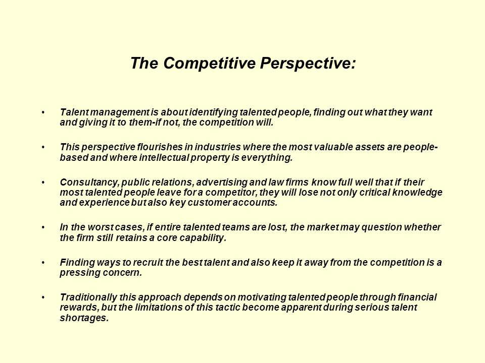 The Competitive Perspective: