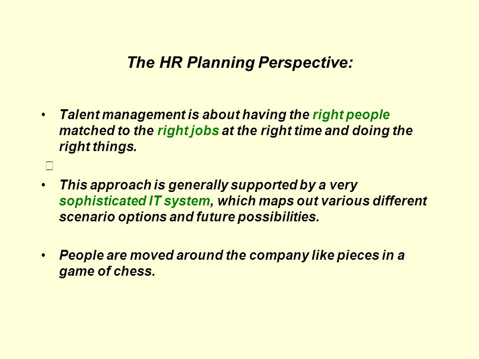 The HR Planning Perspective: