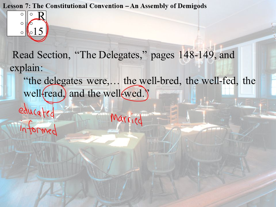 R 15 Read Section, The Delegates, pages 148-149, and explain:
