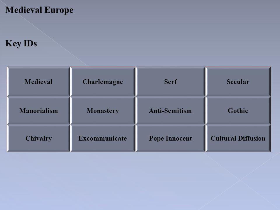 Medieval Europe Key IDs Medieval Charlemagne Serf Secular Manorialism