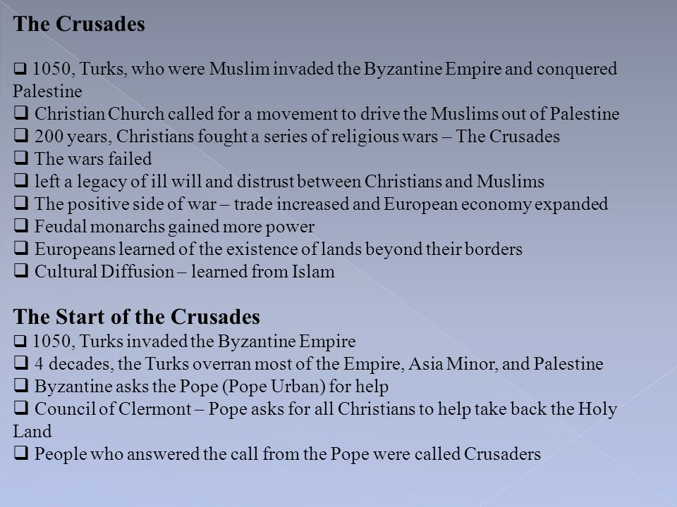 The Start of the Crusades