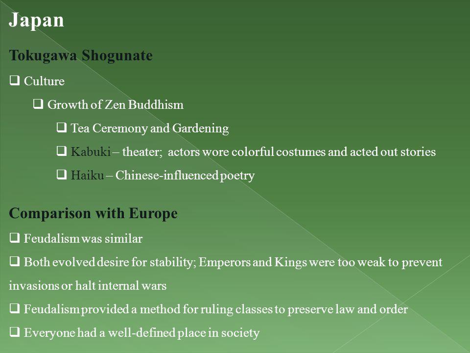 Japan Tokugawa Shogunate Comparison with Europe Culture