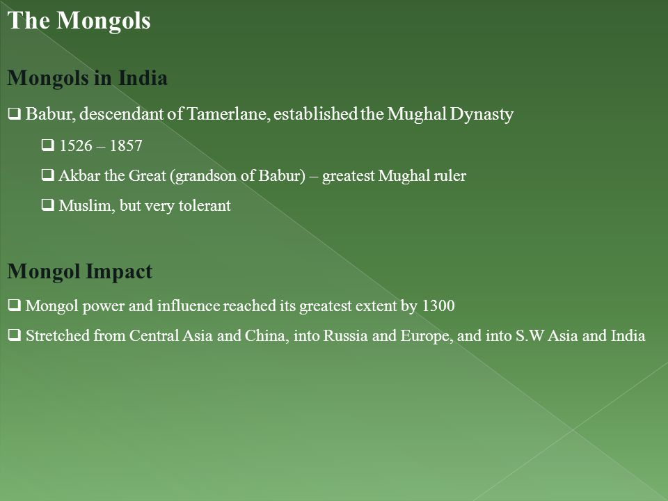 The Mongols Mongols in India Mongol Impact