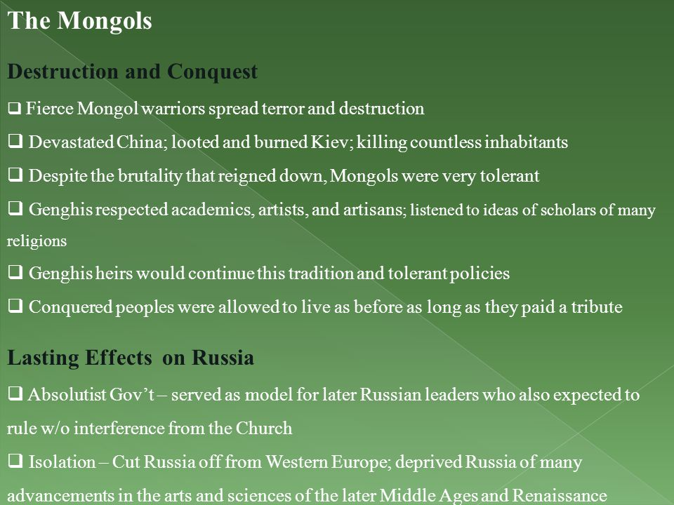 The Mongols Destruction and Conquest Lasting Effects on Russia