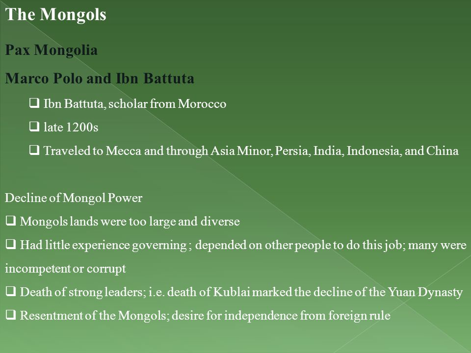 The Mongols Pax Mongolia Marco Polo and Ibn Battuta