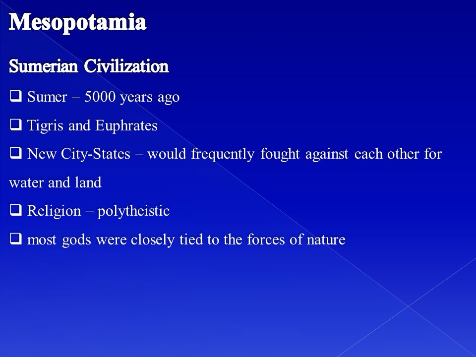 Mesopotamia Sumerian Civilization Sumer – 5000 years ago