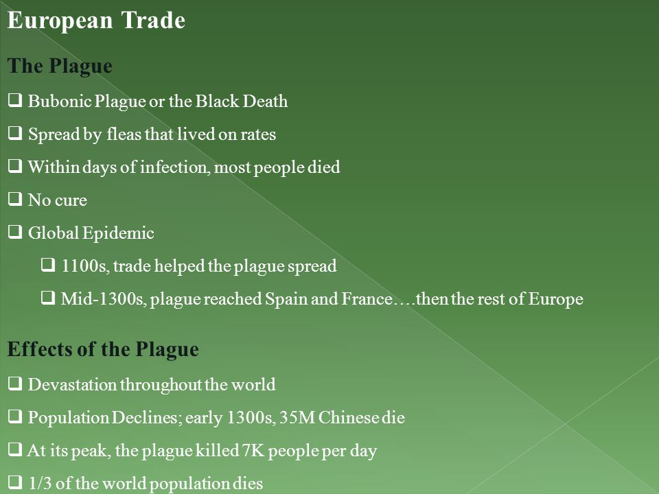European Trade The Plague Effects of the Plague