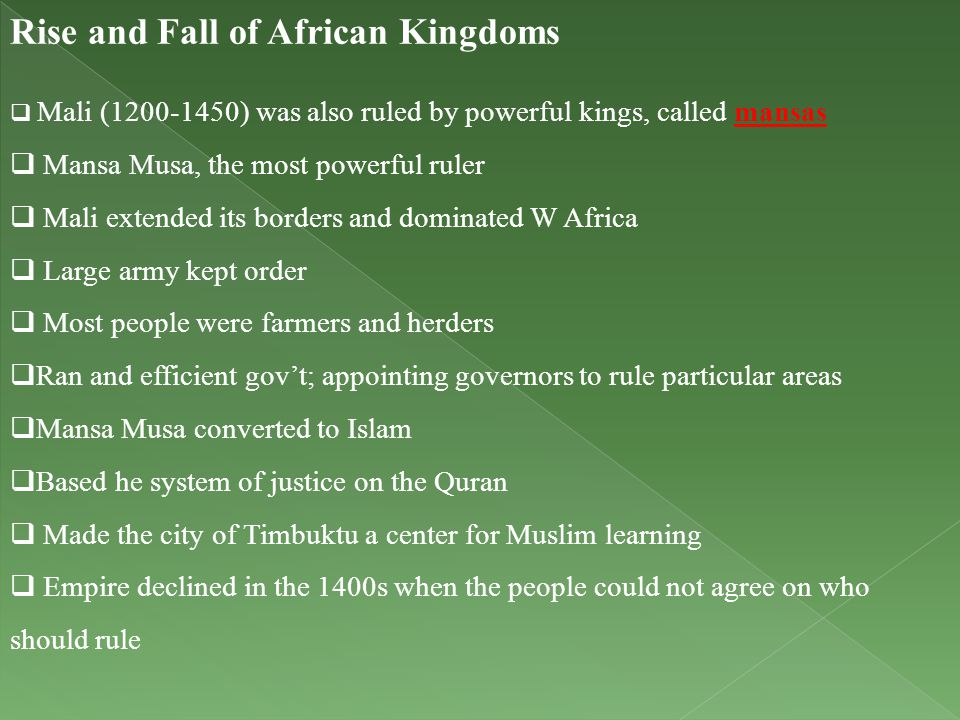 Rise and Fall of African Kingdoms