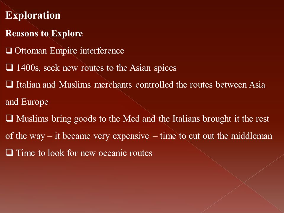 Exploration Reasons to Explore