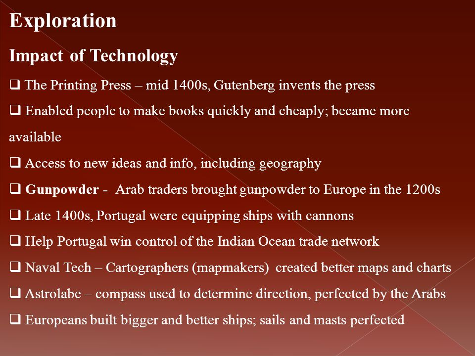 Exploration Impact of Technology