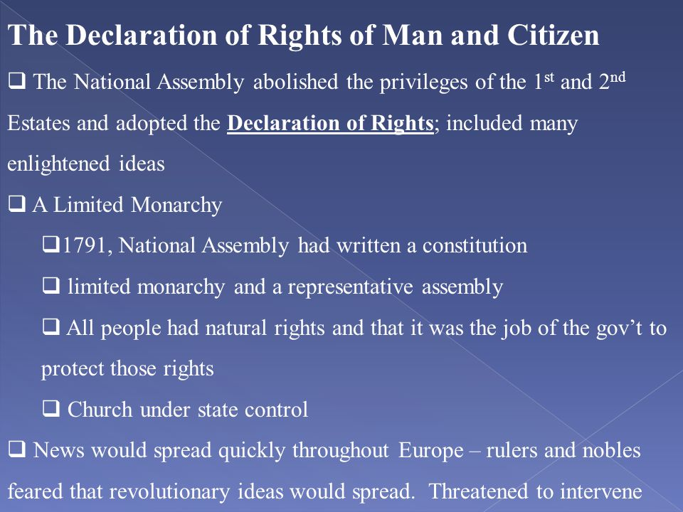 The Declaration of Rights of Man and Citizen