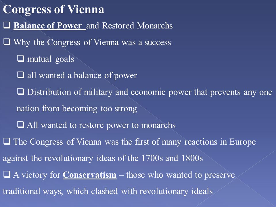 Congress of Vienna Balance of Power and Restored Monarchs