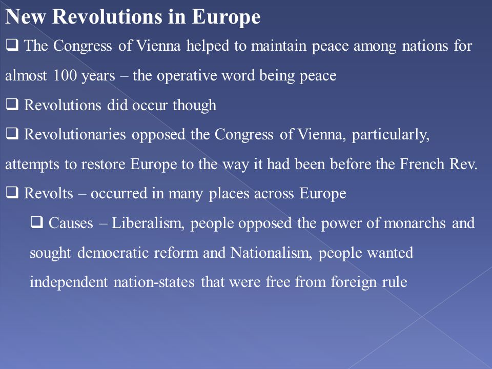 New Revolutions in Europe