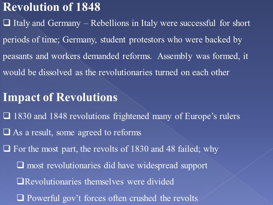 Revolution of 1848 Impact of Revolutions