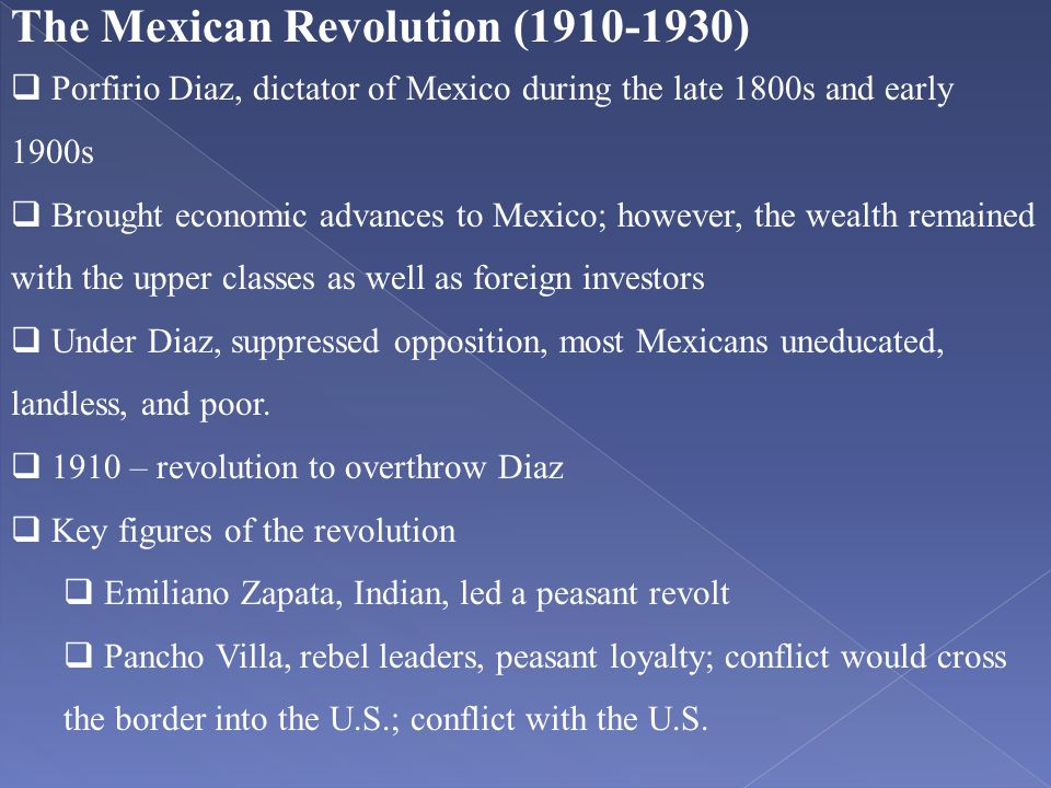 The Mexican Revolution (1910-1930)