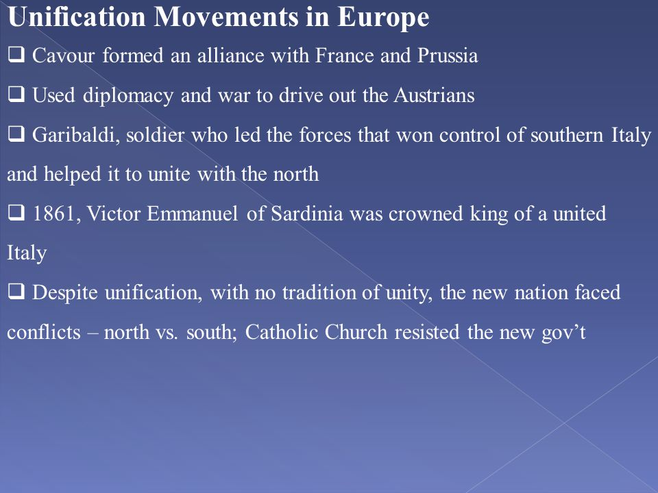 Unification Movements in Europe