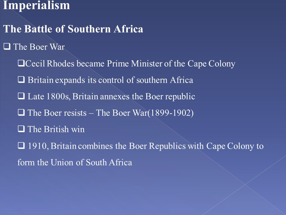 Imperialism The Battle of Southern Africa The Boer War
