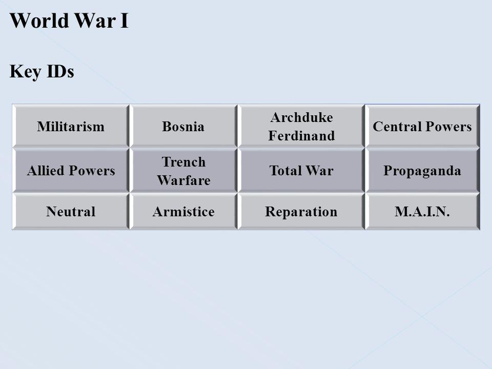 World War I Key IDs Militarism Bosnia Archduke Ferdinand