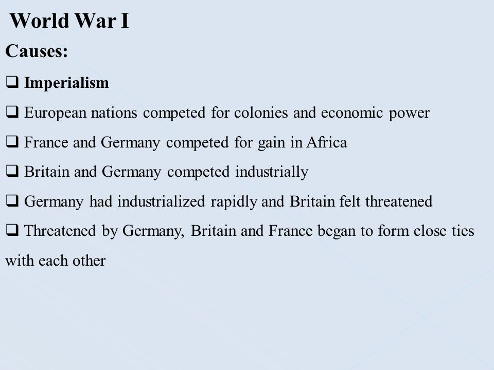 World War I Causes: Imperialism