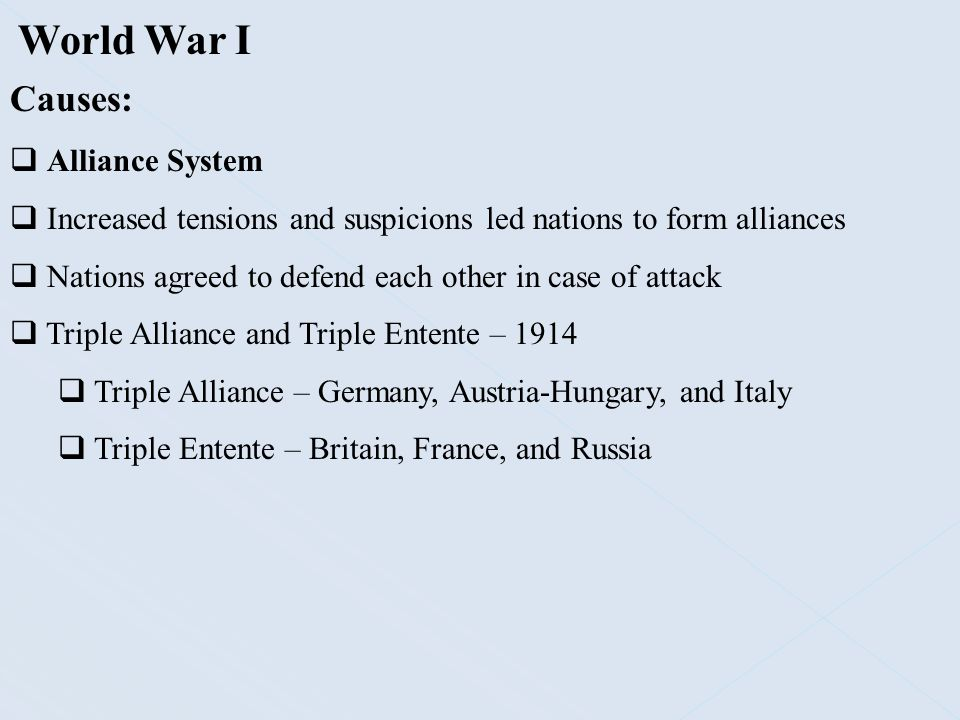 World War I Causes: Alliance System