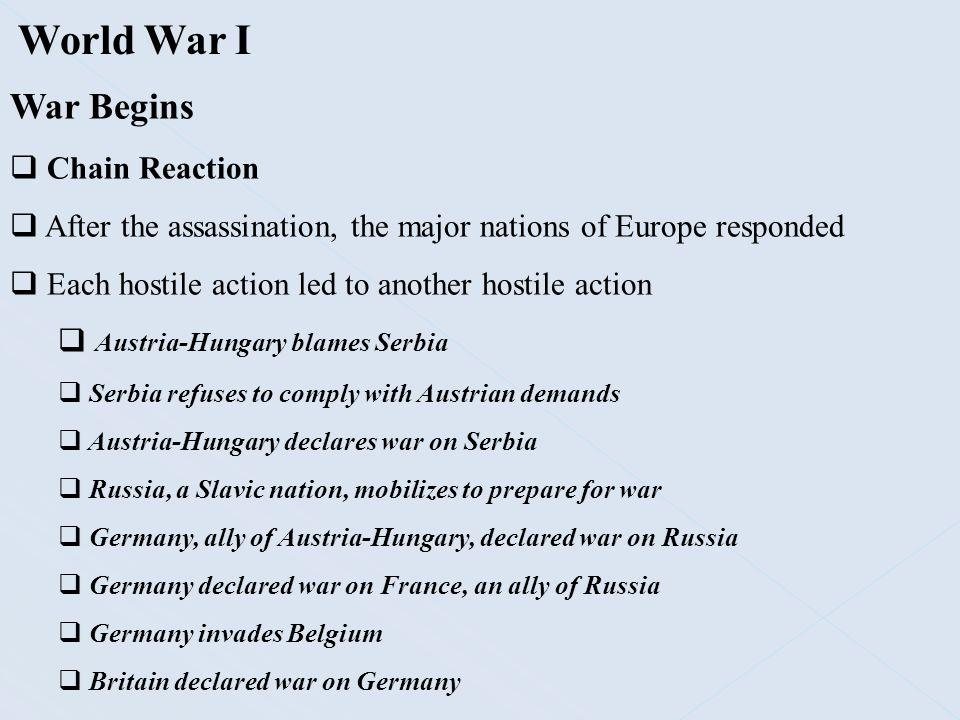 World War I War Begins Chain Reaction