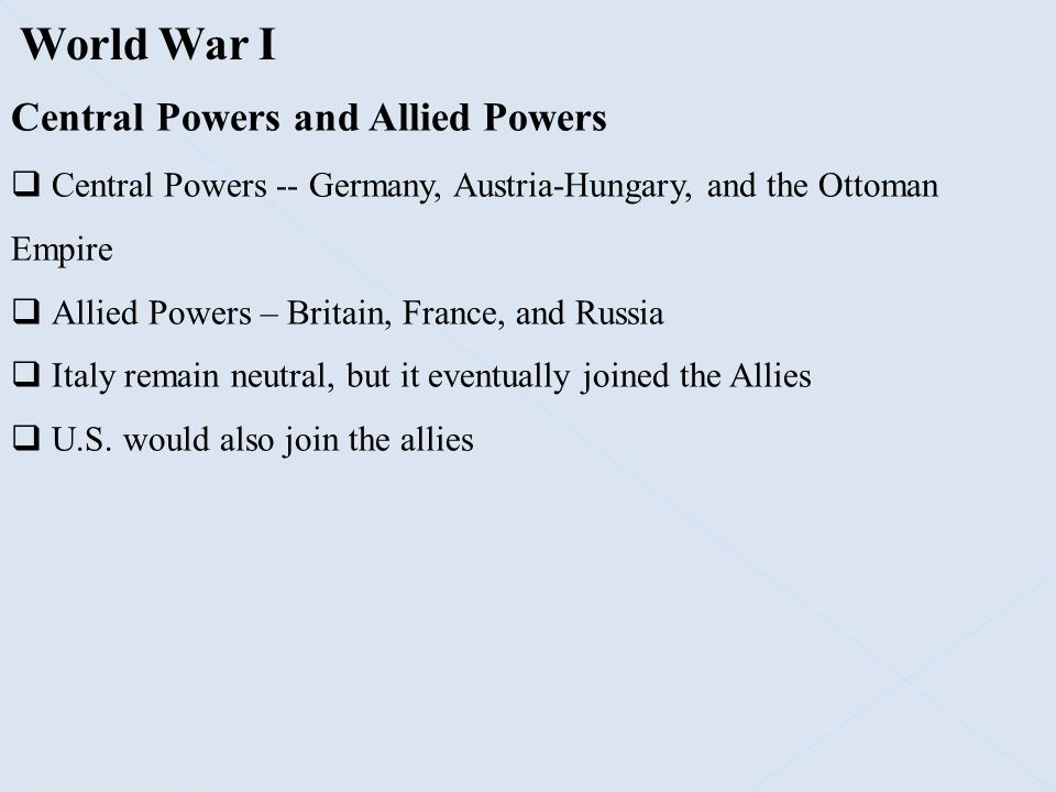World War I Central Powers and Allied Powers