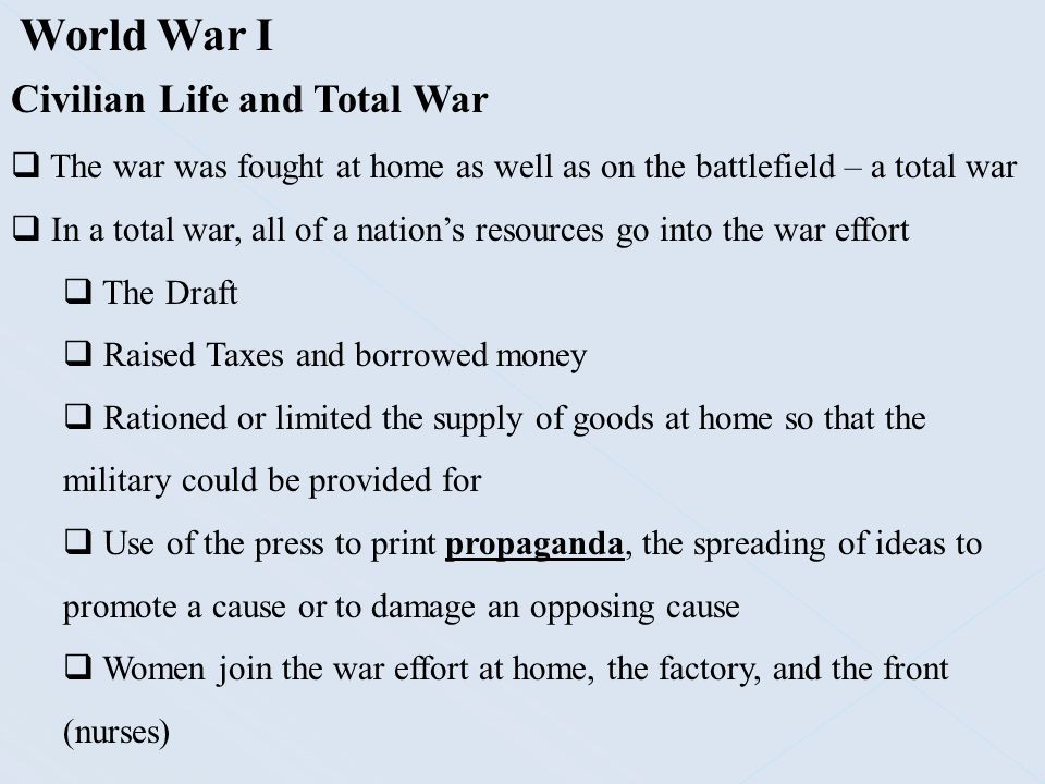 World War I Civilian Life and Total War
