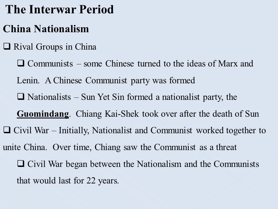 The Interwar Period China Nationalism Rival Groups in China