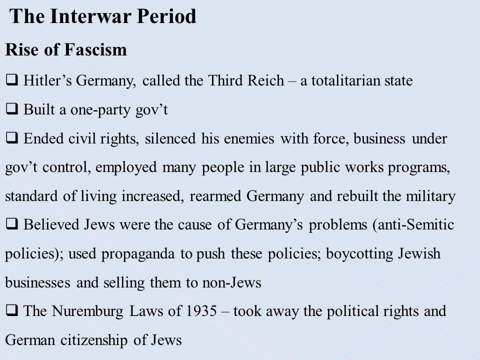 The Interwar Period Rise of Fascism