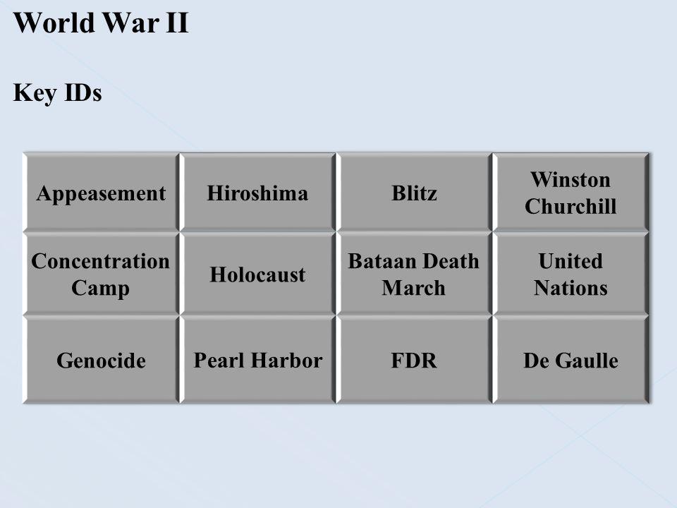 World War II Key IDs Appeasement Hiroshima Blitz Winston Churchill