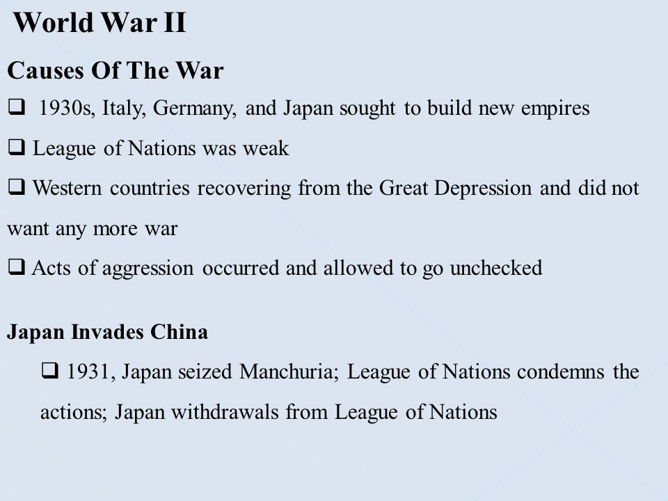 World War II Causes Of The War