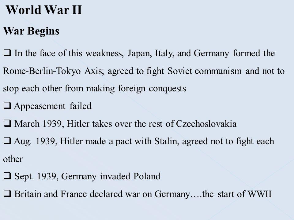 World War II War Begins.