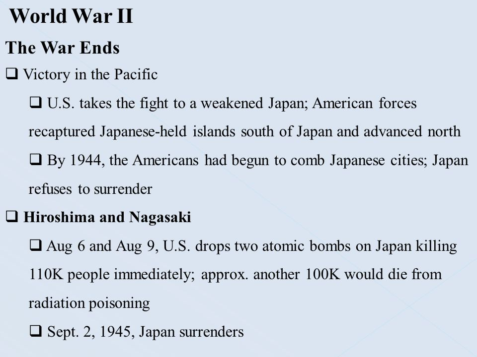 World War II The War Ends Victory in the Pacific
