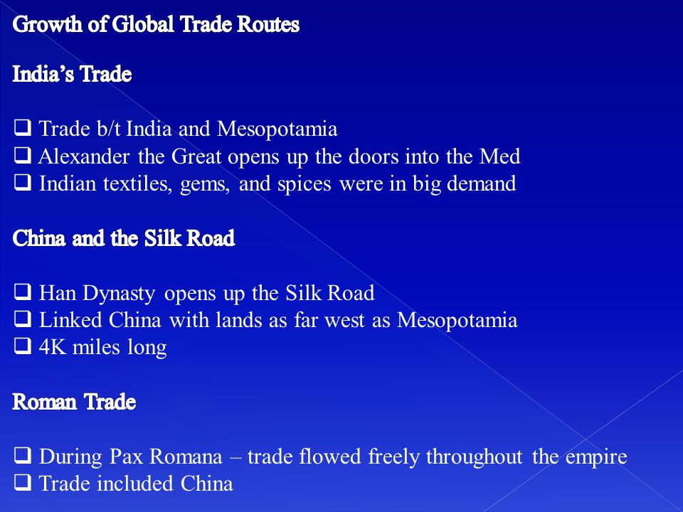 Growth of Global Trade Routes