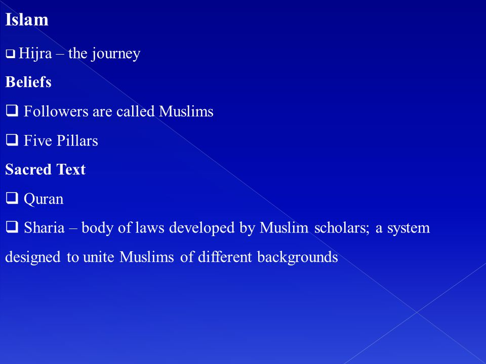Islam Beliefs Followers are called Muslims Five Pillars Sacred Text