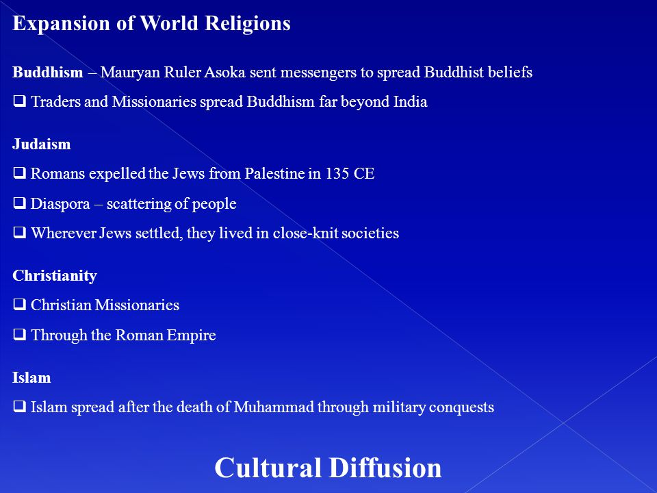 Cultural Diffusion Expansion of World Religions