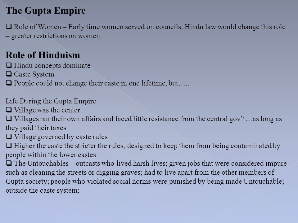 The Gupta Empire Role of Hinduism