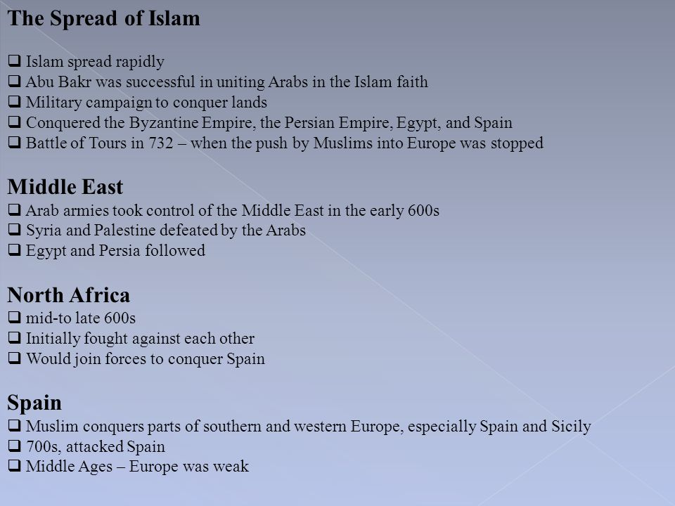 The Spread of Islam Middle East North Africa Spain