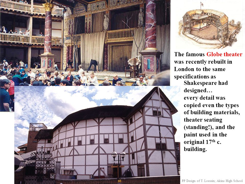The famous Globe theater was recently rebuilt in London to the same specifications as