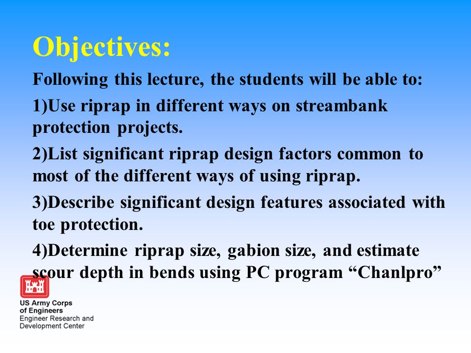 Objectives: Following this lecture, the students will be able to: