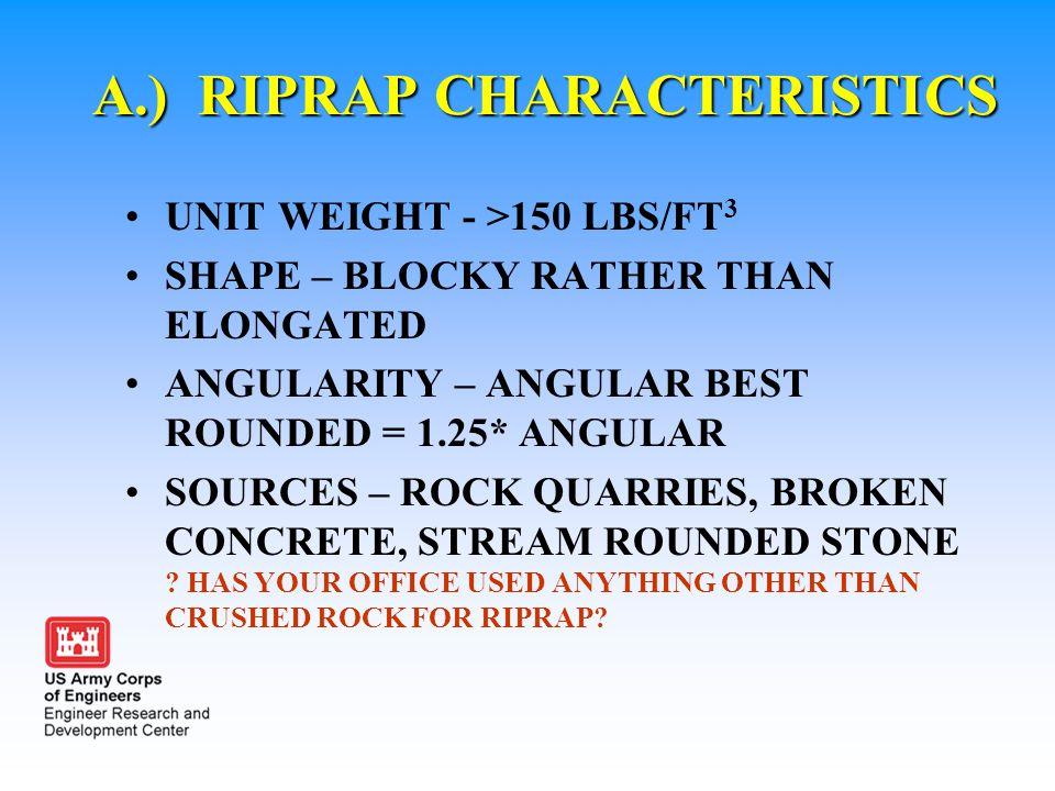 A.) RIPRAP CHARACTERISTICS