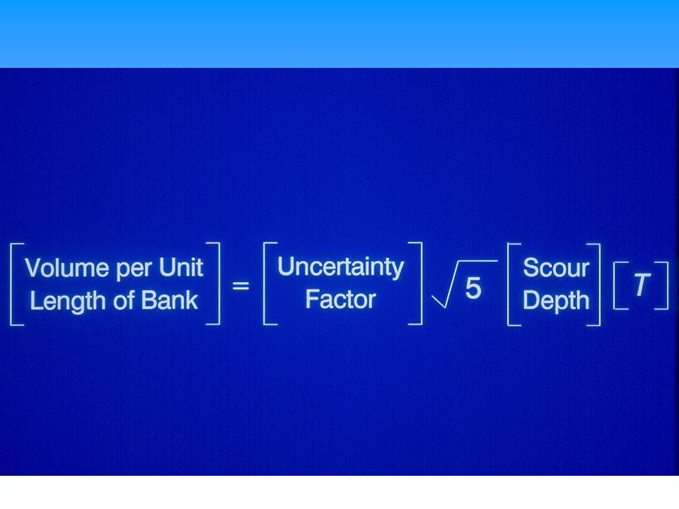 Equation used to define rock volume per unit length of bank.