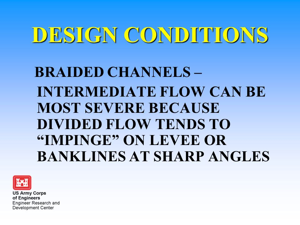DESIGN CONDITIONS BRAIDED CHANNELS –