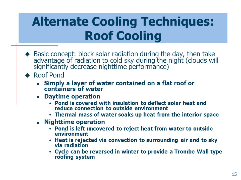 Alternate Cooling Techniques: Roof Cooling