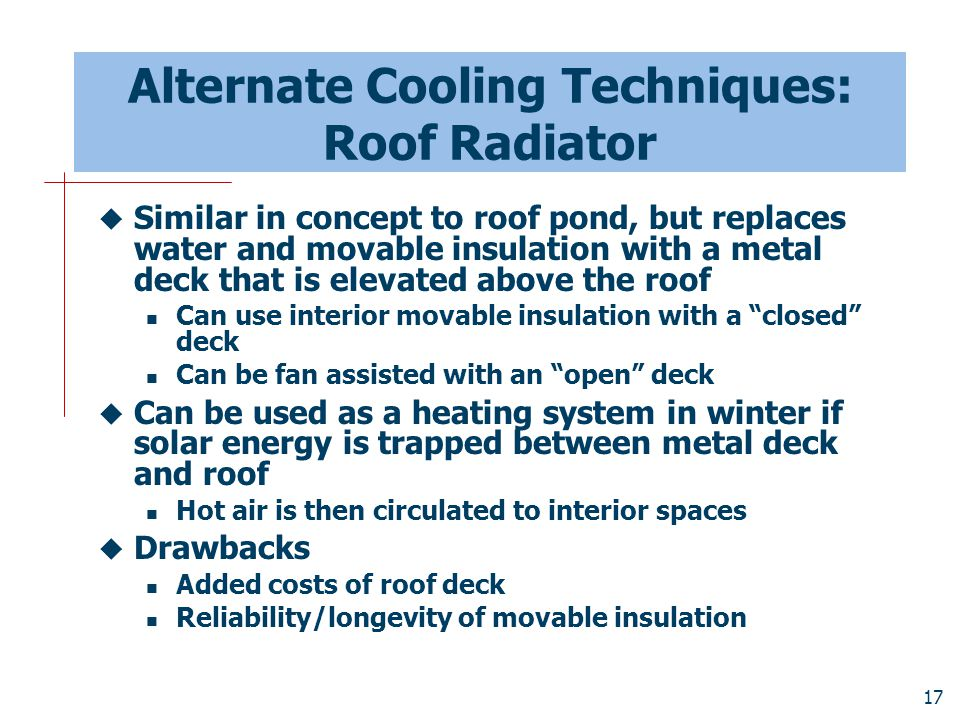 Alternate Cooling Techniques: Roof Radiator