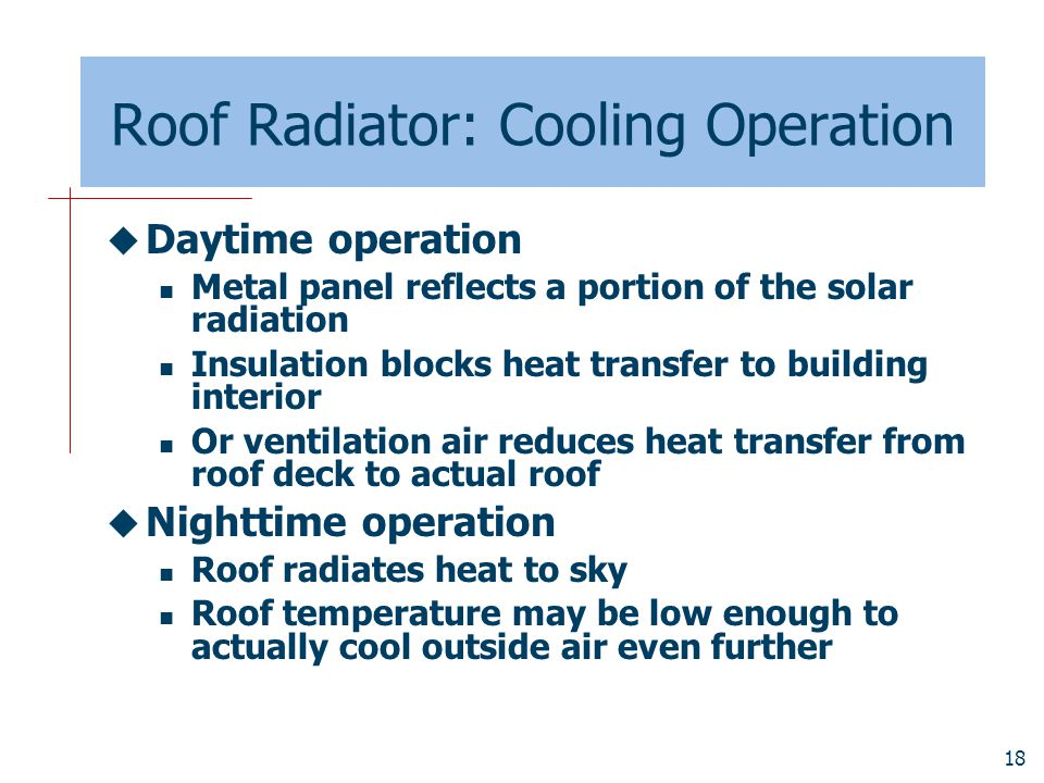 Roof Radiator: Cooling Operation